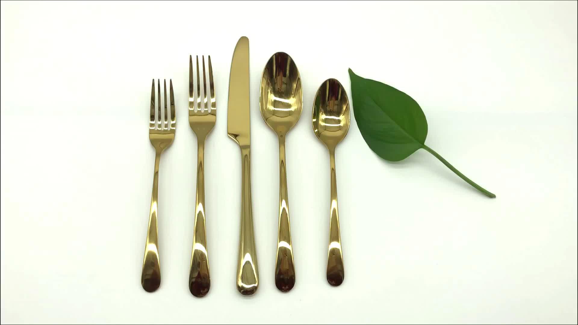 दुबई चाकू और कांटा चम्मच सोने कटलरी सेट, टाइटेनियम PVD कोटिंग लक्जरी सोने Flatware