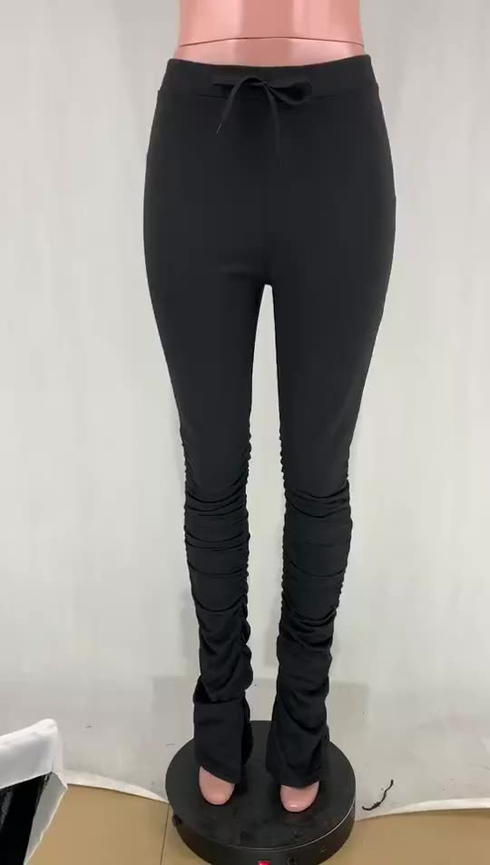 Wholesale New Arrival Women Ladies Casual High Waist Elastic Candy Color Ruched Stacked Pants
