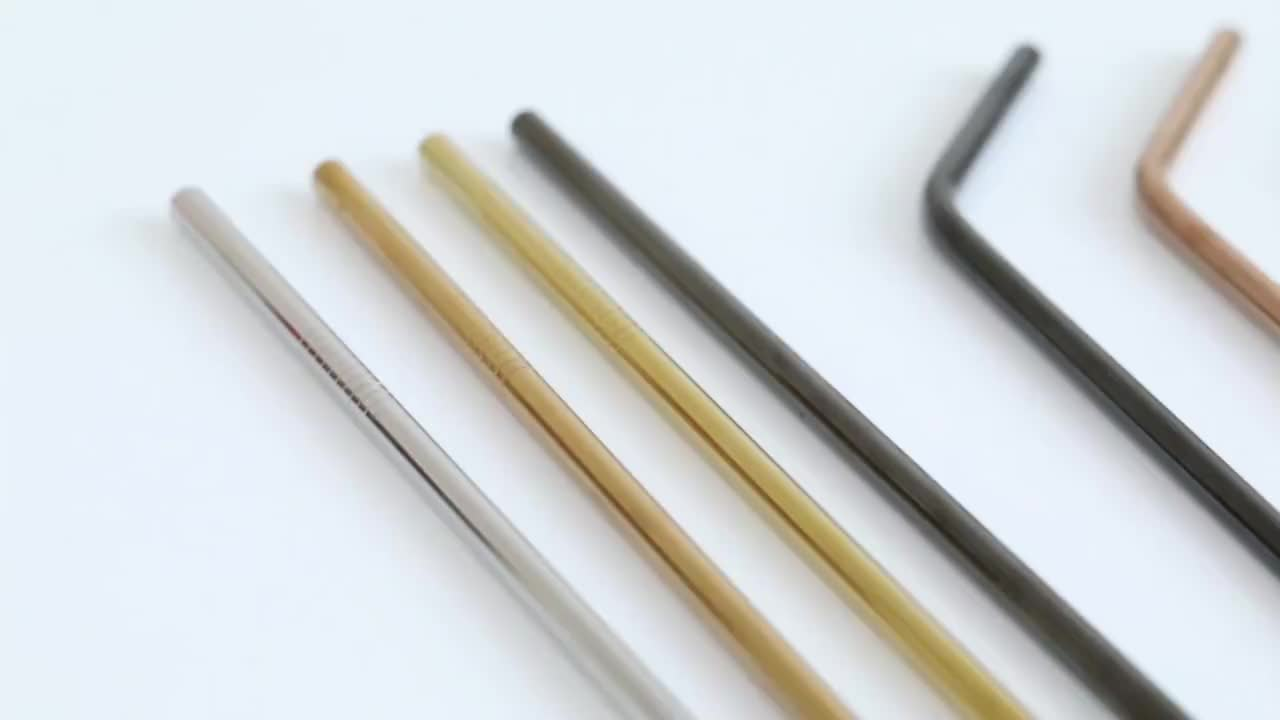 wholesale Food grade 304 stainless steel straws with customized logo stainless steel straw colors