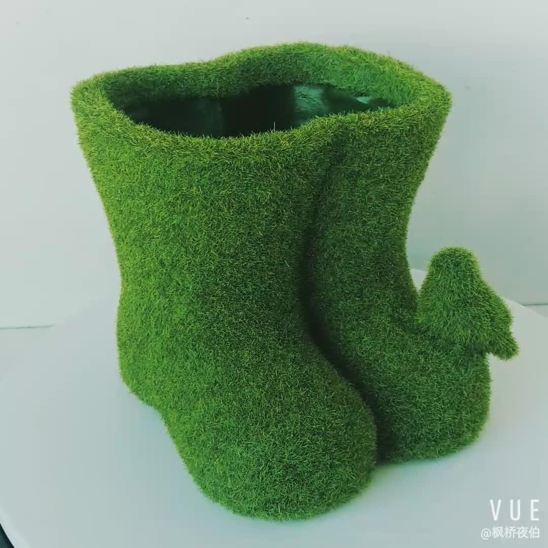 Wholesales Garden Planter Decorative Indoor Flower Pots Moss Resin Rain Boots  Flower Pot for Garden Decoration