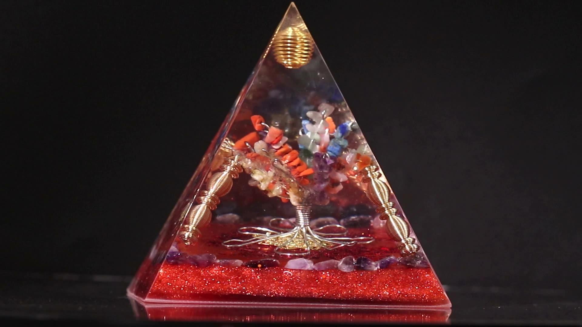 Дропшиппинг натуральный камень Рейки Исцеление энергии Древо жизни Orgonite декоративные каучуковые чакра Orgonite пирамиды