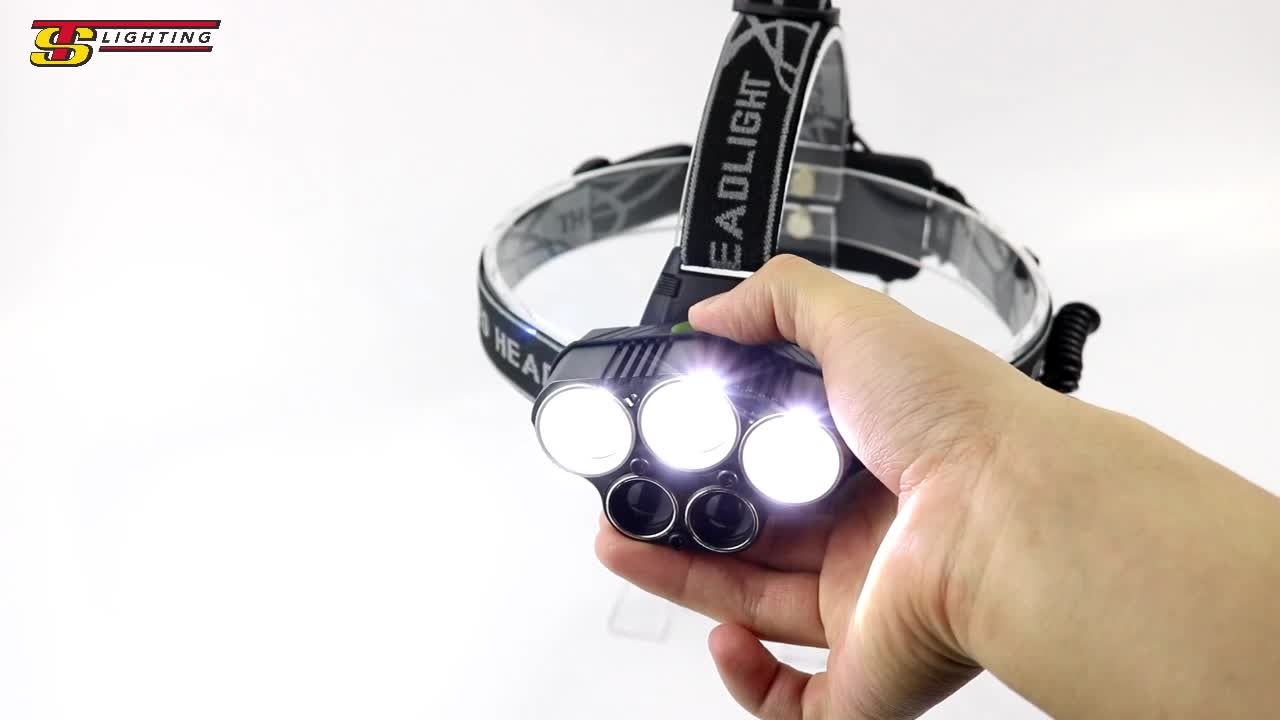 TS Lighting USB Rechargeable headlamp with 5 led T6 XPE Head Lights 18650 Lithium Head Lamps