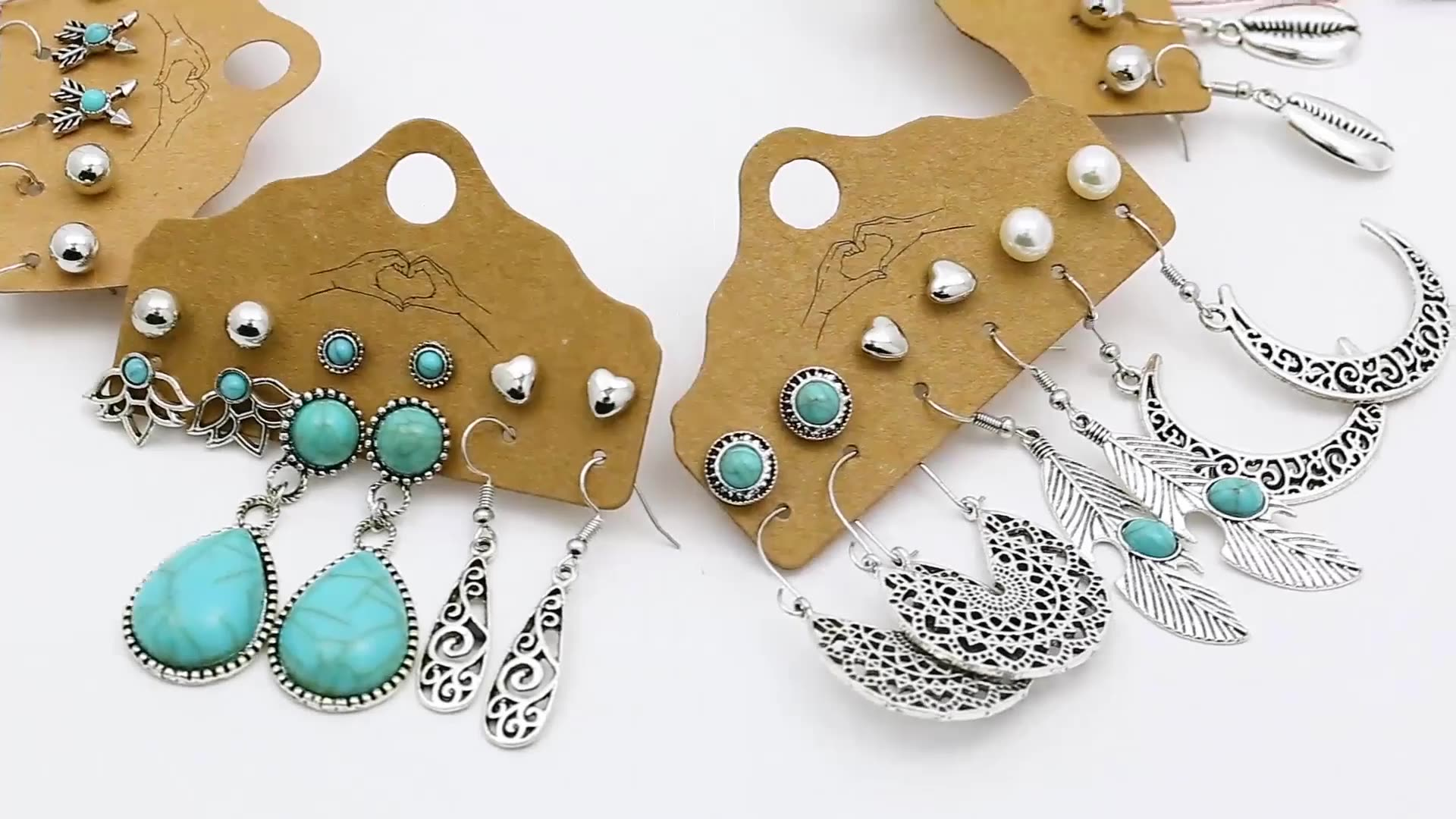 2020 Mixed Design Bohemian Feather Acrylic TURQUOISE Earrings Set For Women Jewelry Hot Selling