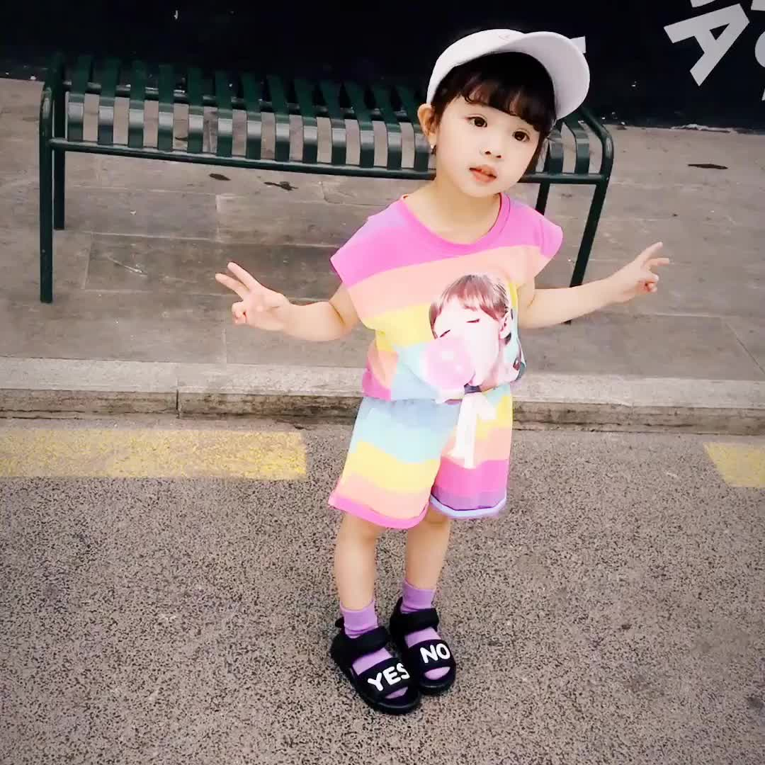 wholesale summer o-neck set fashion tops matching rainbow girls print clothes set girls outfit set kids clothing sets