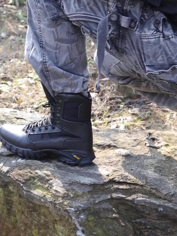 Wearable Anti-Microbial Waterproof Leather New Type Outsole  Black Outdoor Hunting boots