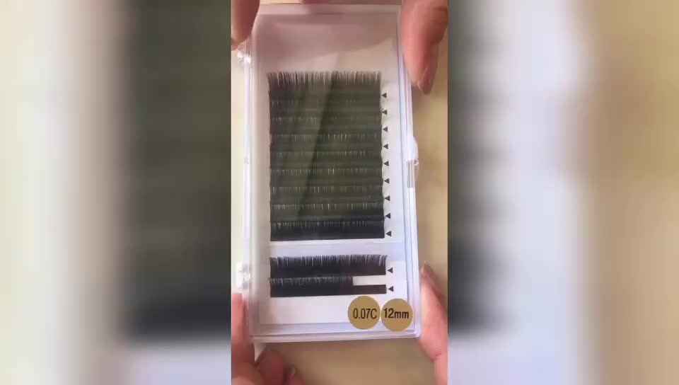High quality eyelash extension with customer packaging 0.03/.05/.07/.10/.12/.15/.18/.20/.23/.25 thickness