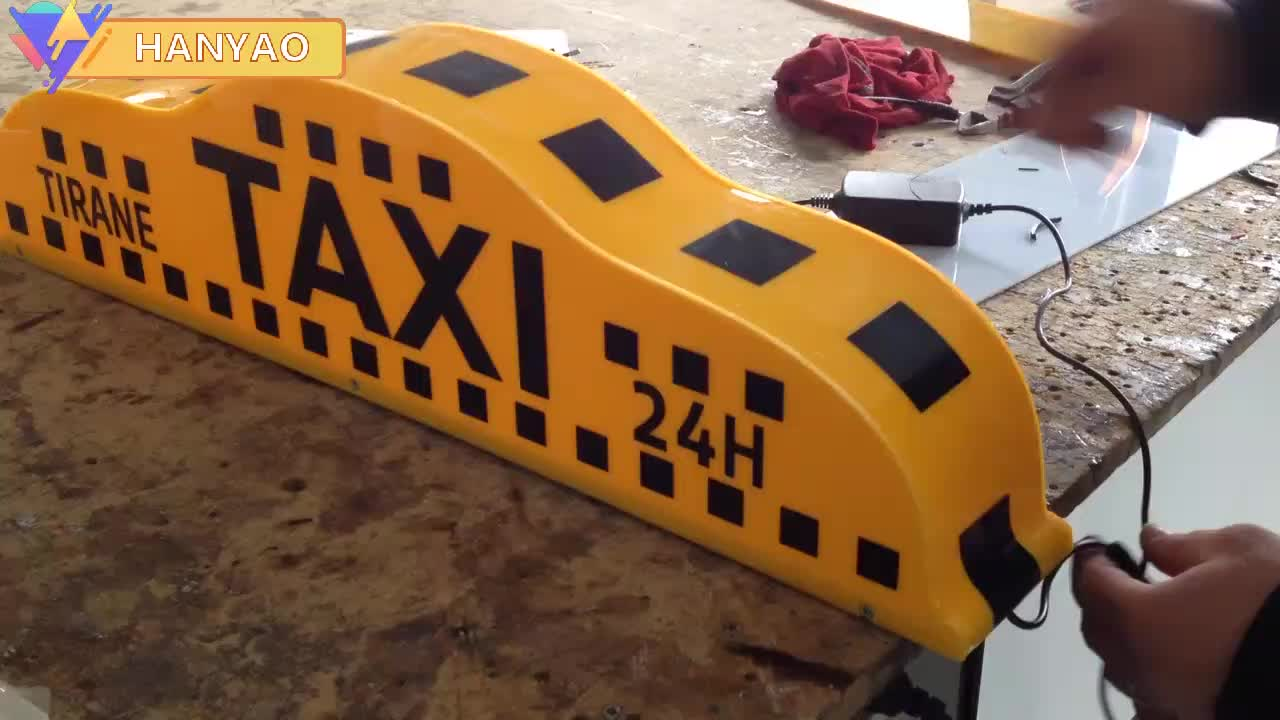 high quality taxi yellow lamp top light advertising signs  pp material taxicab advertising display topper lights for sale