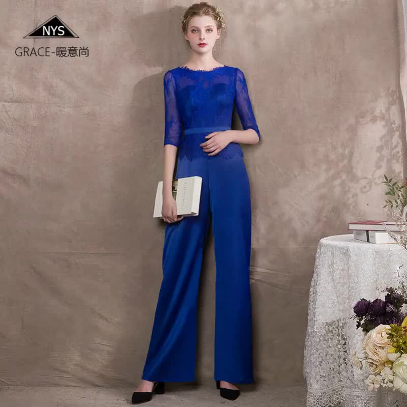 2018 hotsell blue satin pants black lace tops evening gown pants dress white Satin lace Pants dress evening prom dress p17