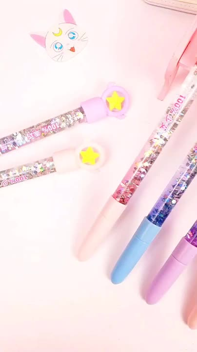 Factory Direct Selling  Novelty  Stars Gel Pen Multi-color Oil Floating Plastic Pen
