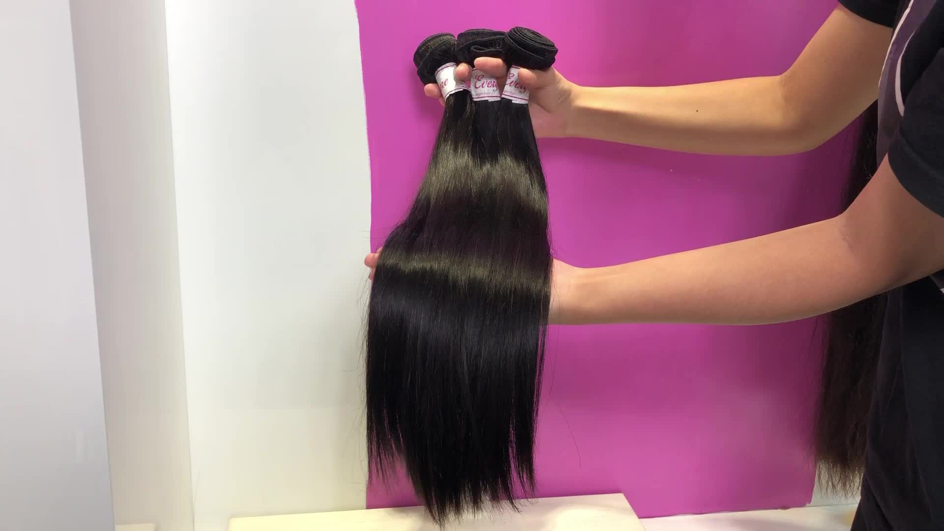 XBL Free shipping virgin brazilian human hair bundles with closure, wholesale straight wave human hair weave