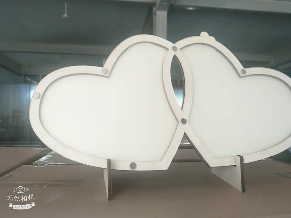 New arrival Double Red Heart Shape Wedding Guest Book