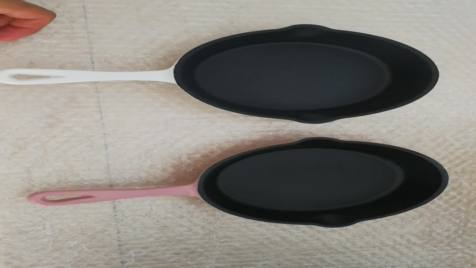 Enamel Cast Iron Skillet 10 inch Oven Safe Smooth Surface Fry Pan. Perfect for Steak, Fajitas, Eggs