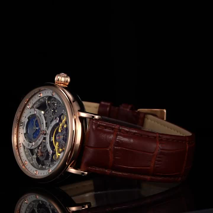KINYUED Private Label Watch Waterproof Automatic Watches High Quality Strap Moon Phase Skeleton Wristwatches