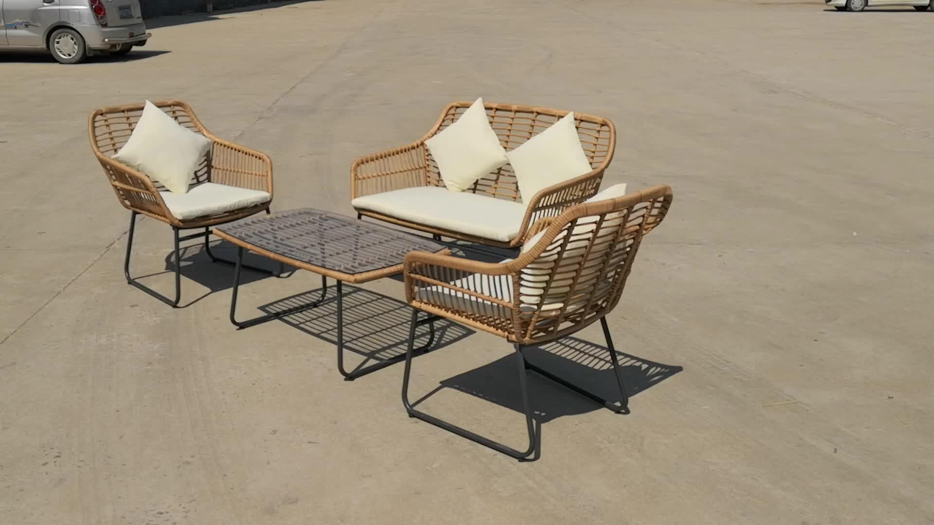 wholesale 4pcs patio garden rattan sofa set KD poly big round rattan wicker outdoor leisure furniture