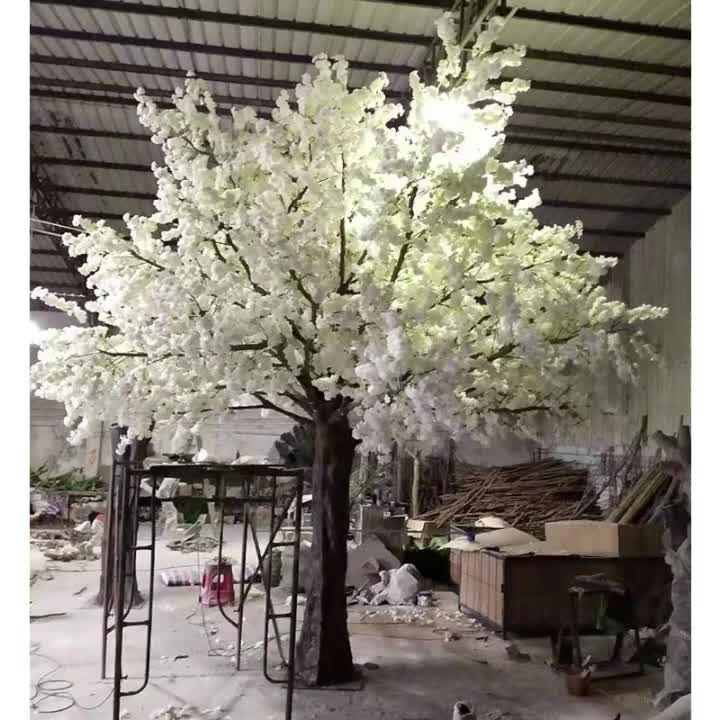 high quality 600cm height fiberglass large artificial white cherry blossom flower tree plant for indoor wedding decoration