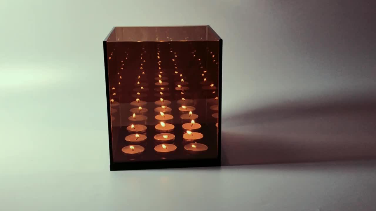 2019 탑 세일! 9 큐브 인피니티 미러 상자 촛불 블랙 나무