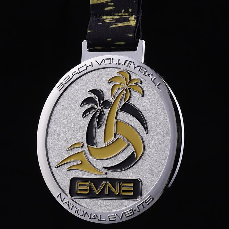 Zinc alloy cheap  custom metal 2d silver enamel volleyball award medal with ribbon