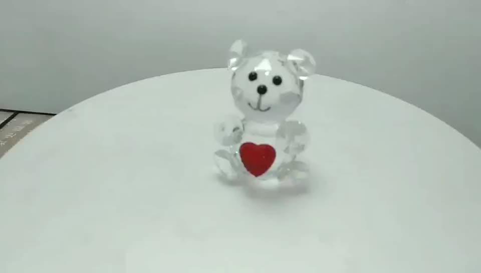사랑스러운 동물 피겨 크리스탈 유리 곰 인형