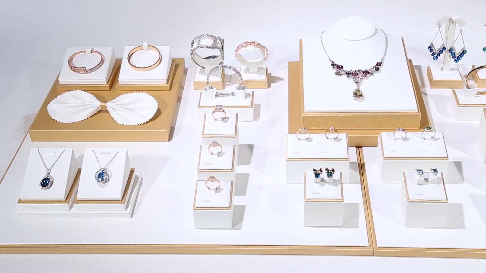 DIGU Groothandel Aangepaste Sieraden display set PU Sieraden display stand teller ring ketting oorbellen display stand props