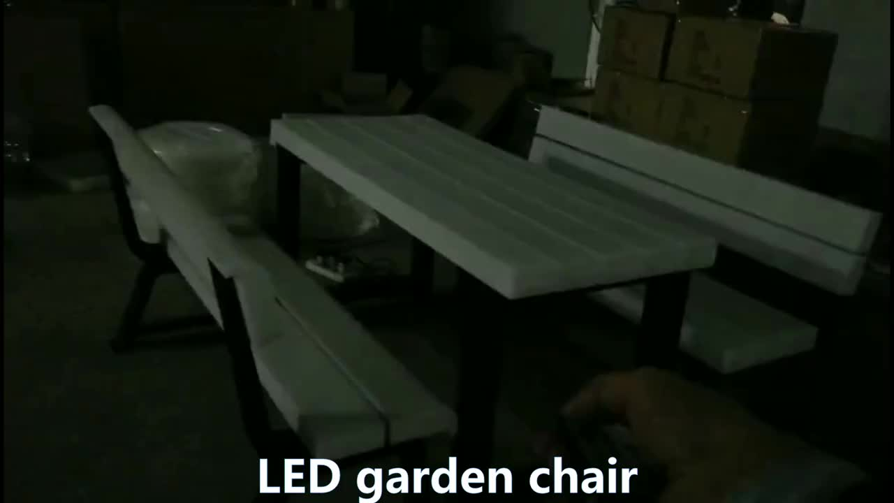 High quality Outdoor garden furniture led light garden table and chair set