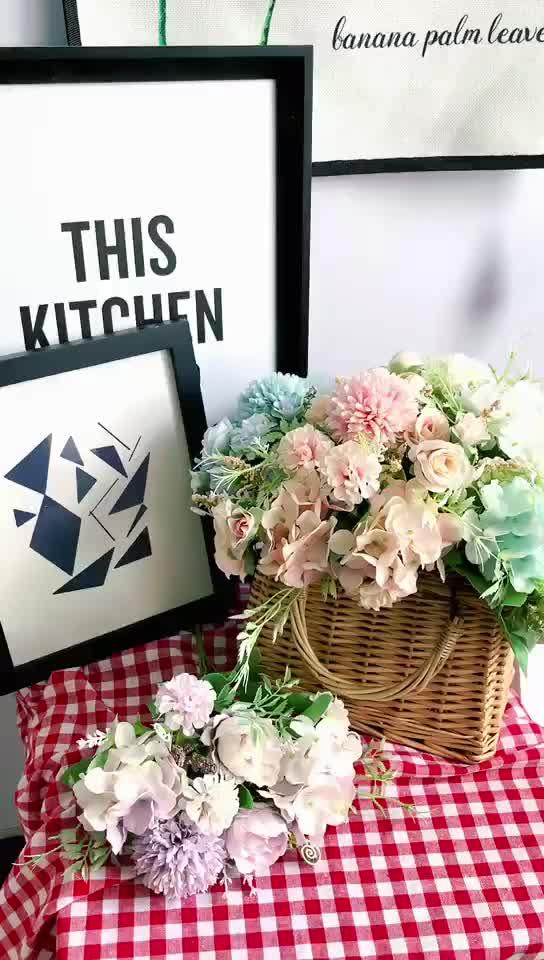 Buatan Sutra Bunga Batang Cabang Bunga Bunch Bouquet Rumah Meja Hiasan Pernikahan Bridal Dekorasi Bola Bunga Mawar