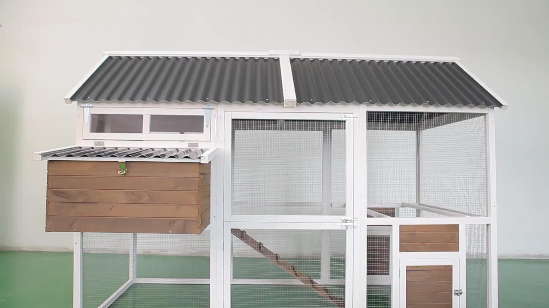 Diseño al aire libre barato móvil pollo coop de capa de pollo jaula con doble cajas nido
