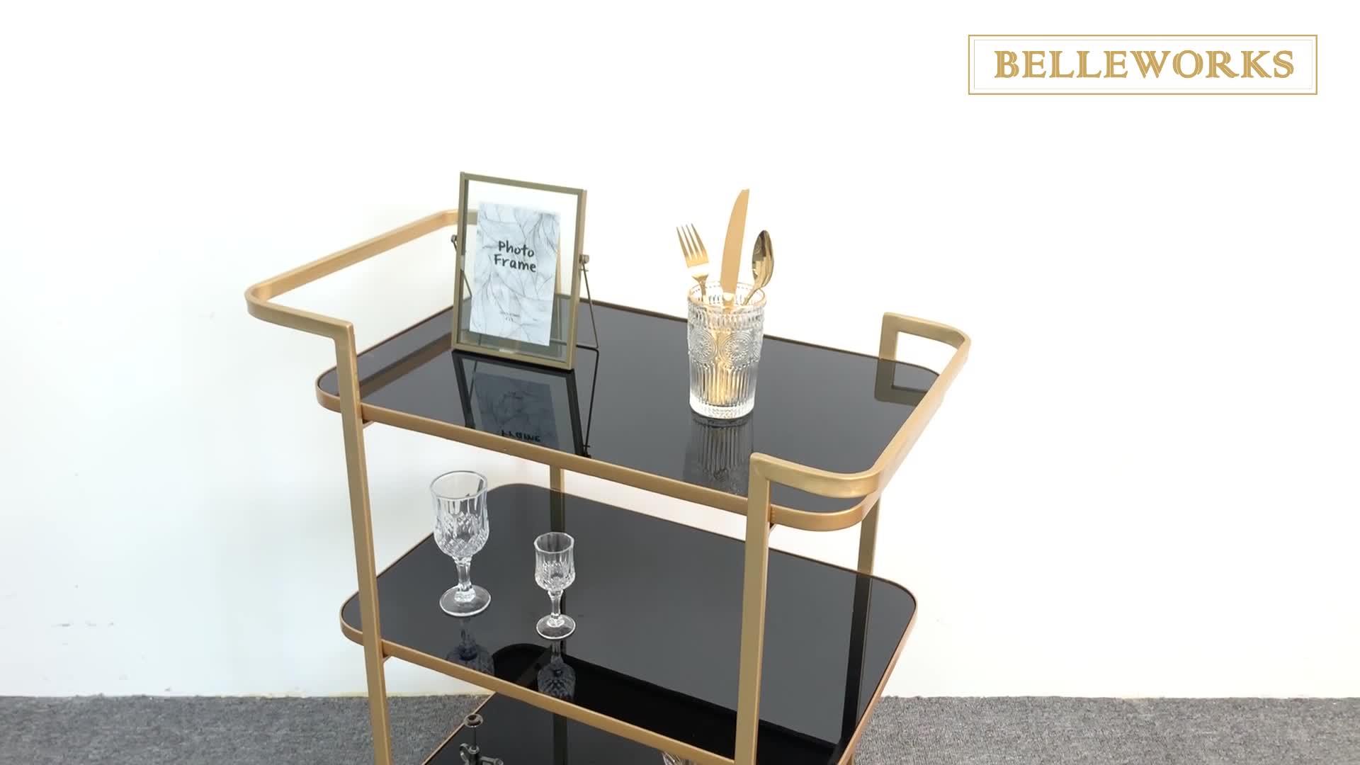 Elegantออกแบบแก้วกลางแจ้งHanding Bar Cart/KITCHEN Cart