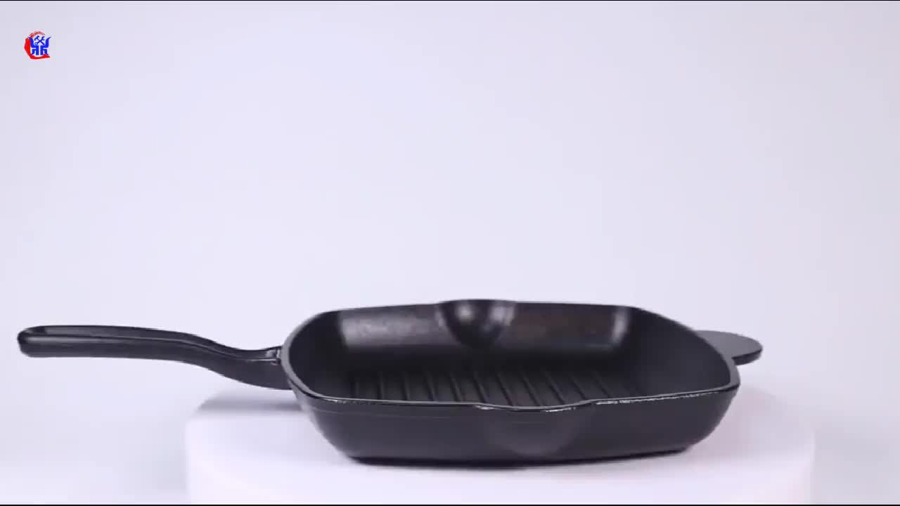 Cast iron nonstick grill pan with folding handle