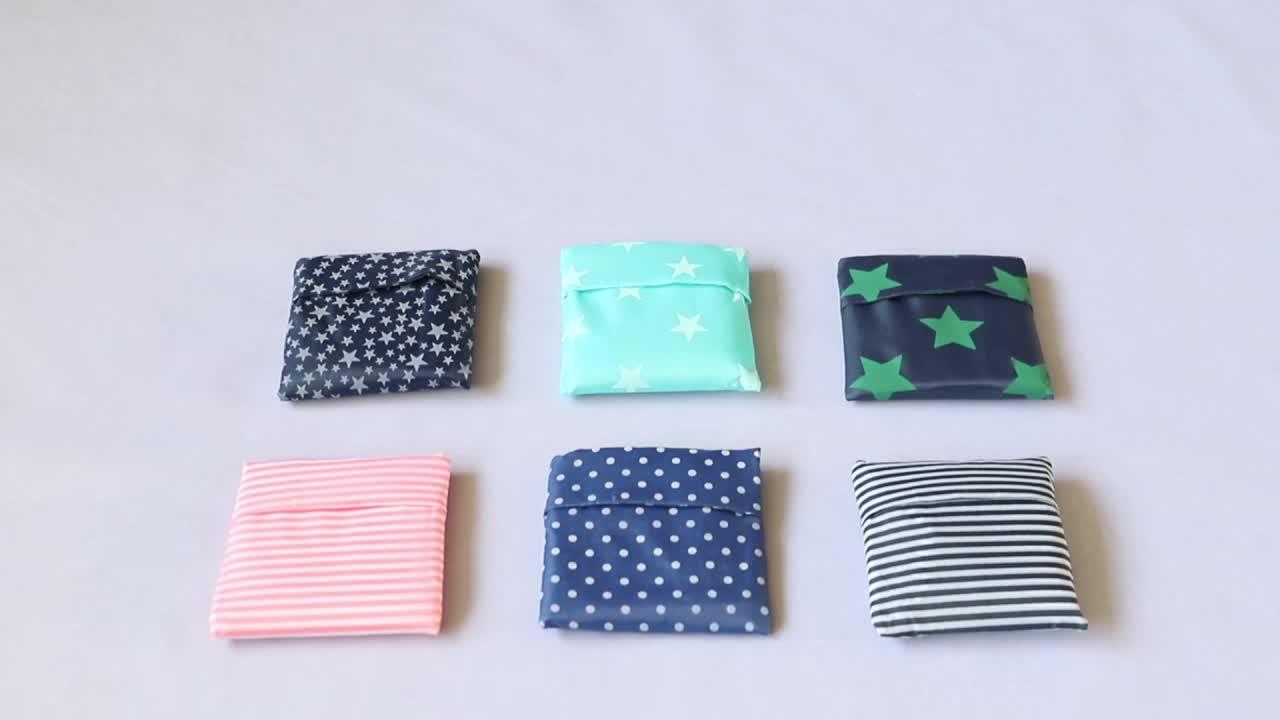 Custom Logo Eco Friendly Poly Bag Reusable Nylon Foldable Shopping Bag With Pouch Polyester