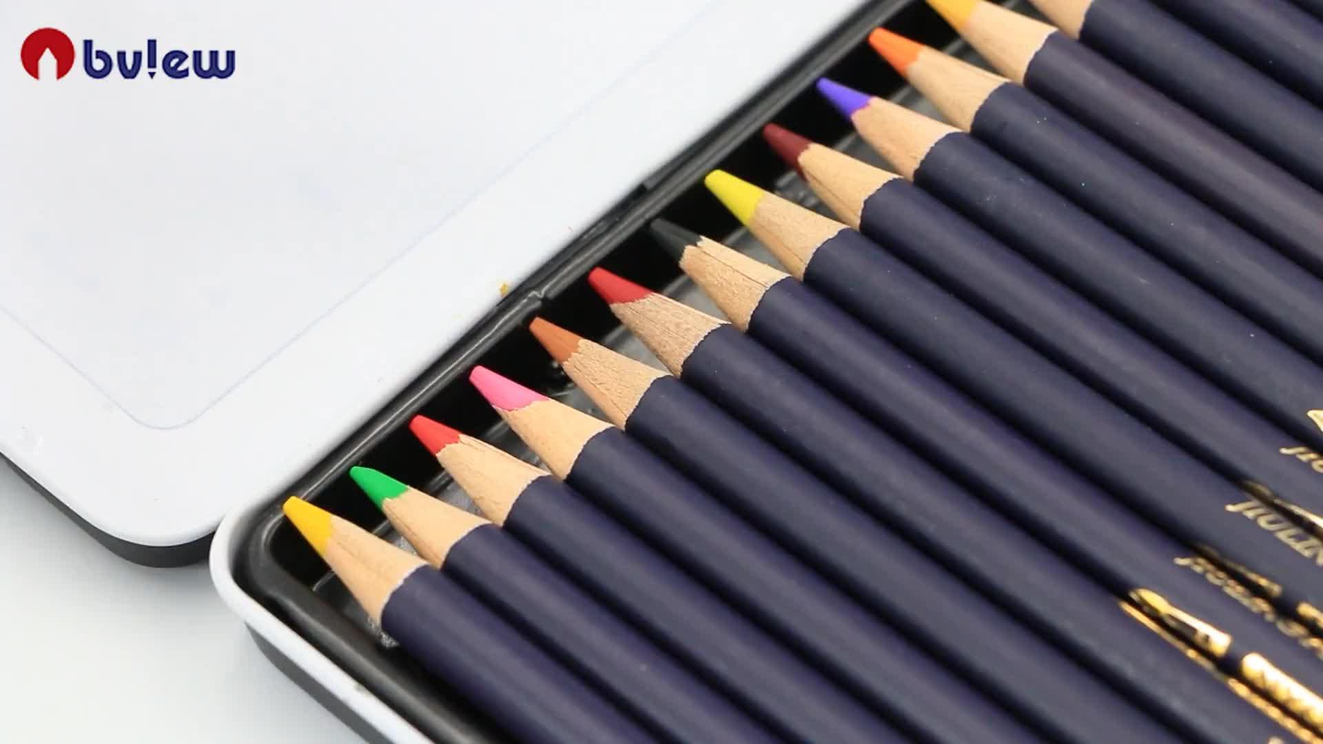 Cao cấp 24 Màu Sắc Kim Loại Tin Hộp Màu Nước Bút Chì Thiết Cho Nghệ Sĩ