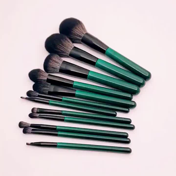 कम moq whosale निजी लेबल 12pcs गहरे हरे रंग के लिए ब्रश सेट मेकअप ब्रश फैक्टरी