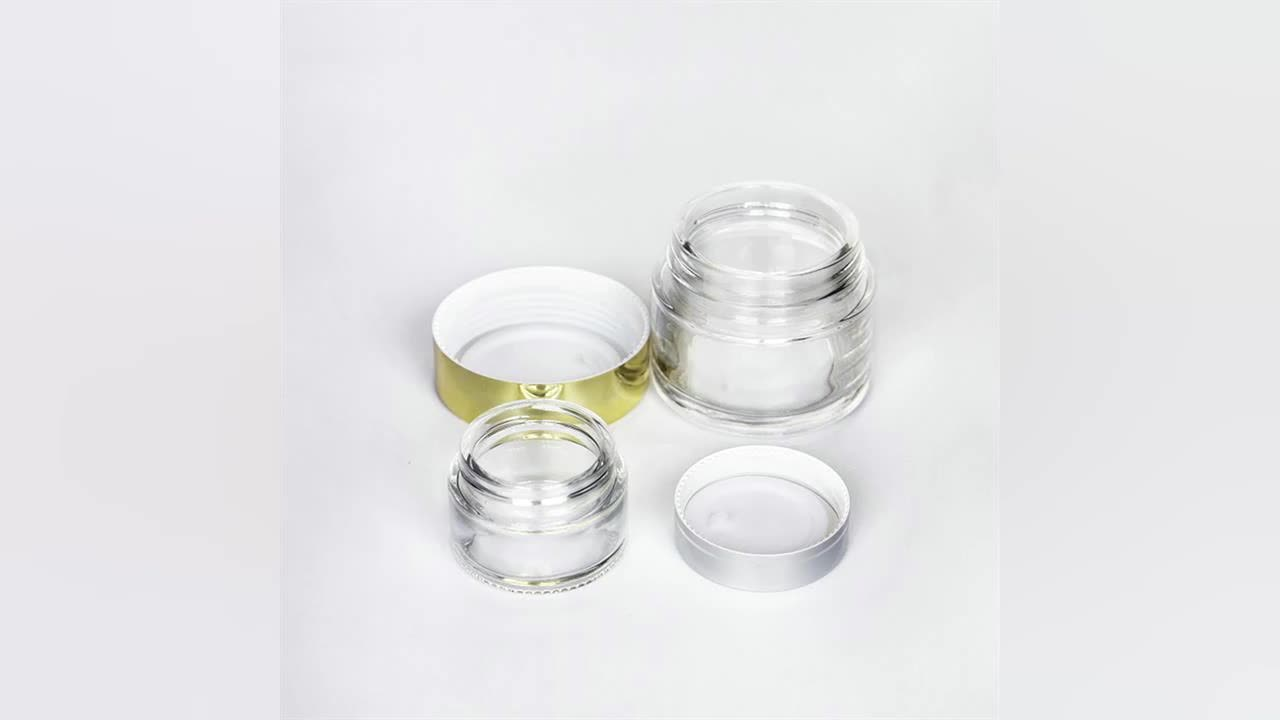 Luxury 5g 10g 15g 20g 30g 50g 100g Clear Glass Cosmetics Cream ppackaging Container Frosted Glass Cream Jar