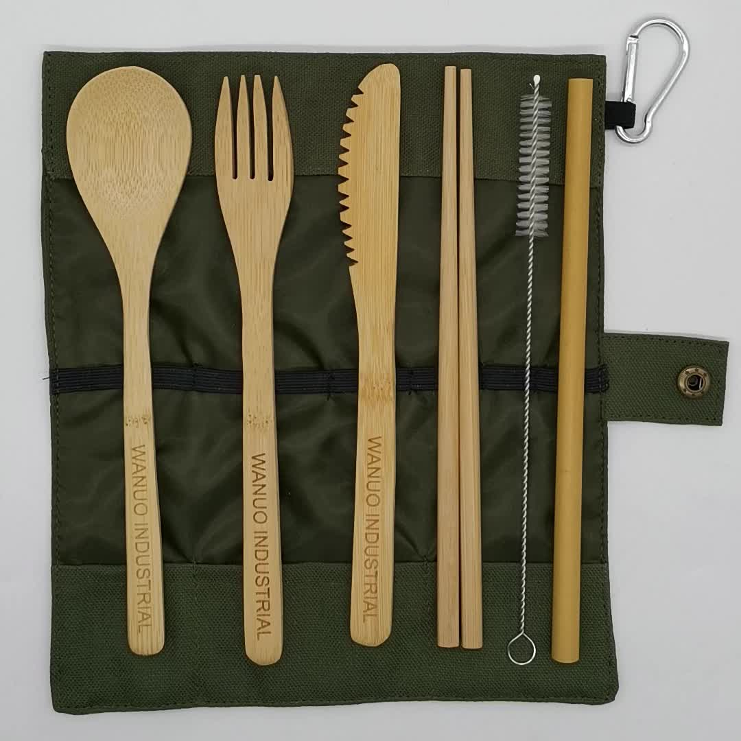 WanuoCraft Wooden Camping Cutlery Sets Bamboo Flatware Set With Travel Pouch