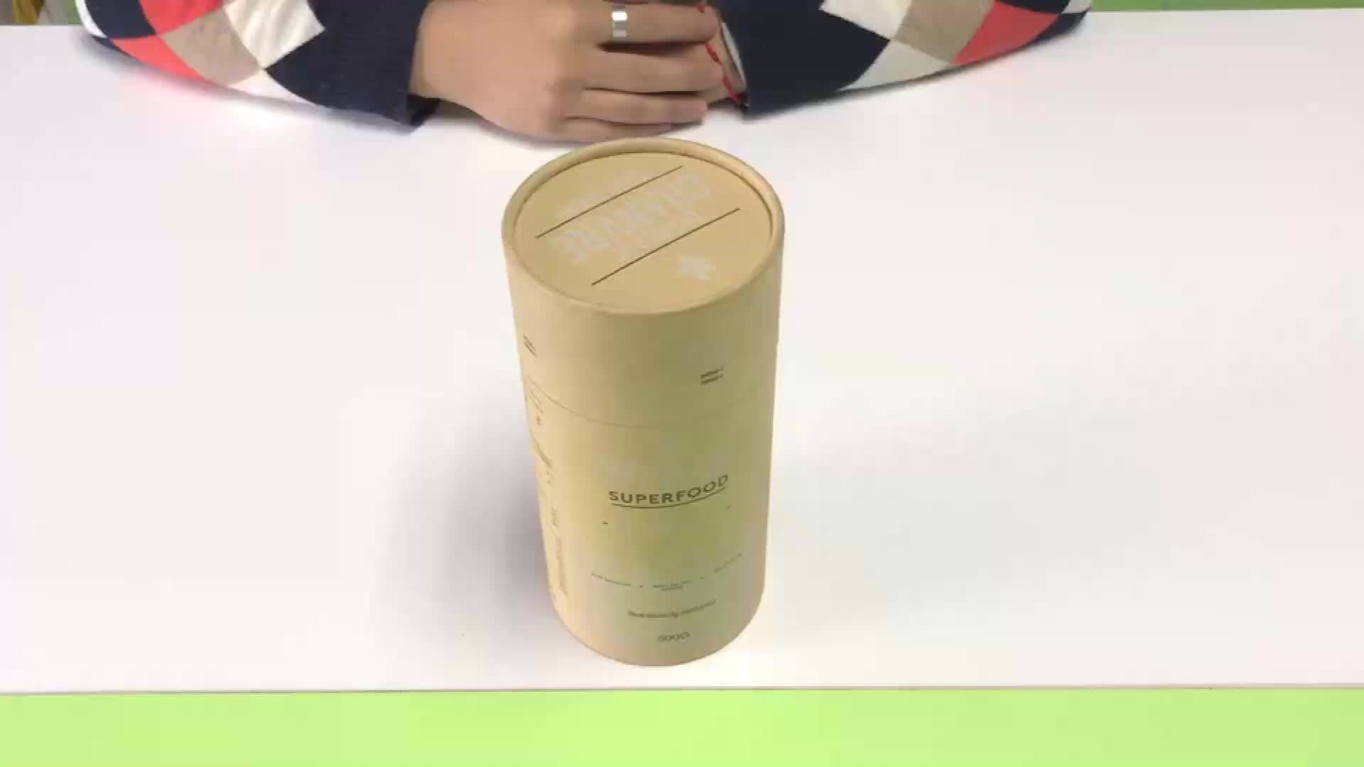 Custom Gedrukt Creative Ronde Kraft Papier Buis Verpakking Voor Voedsel Verpakking