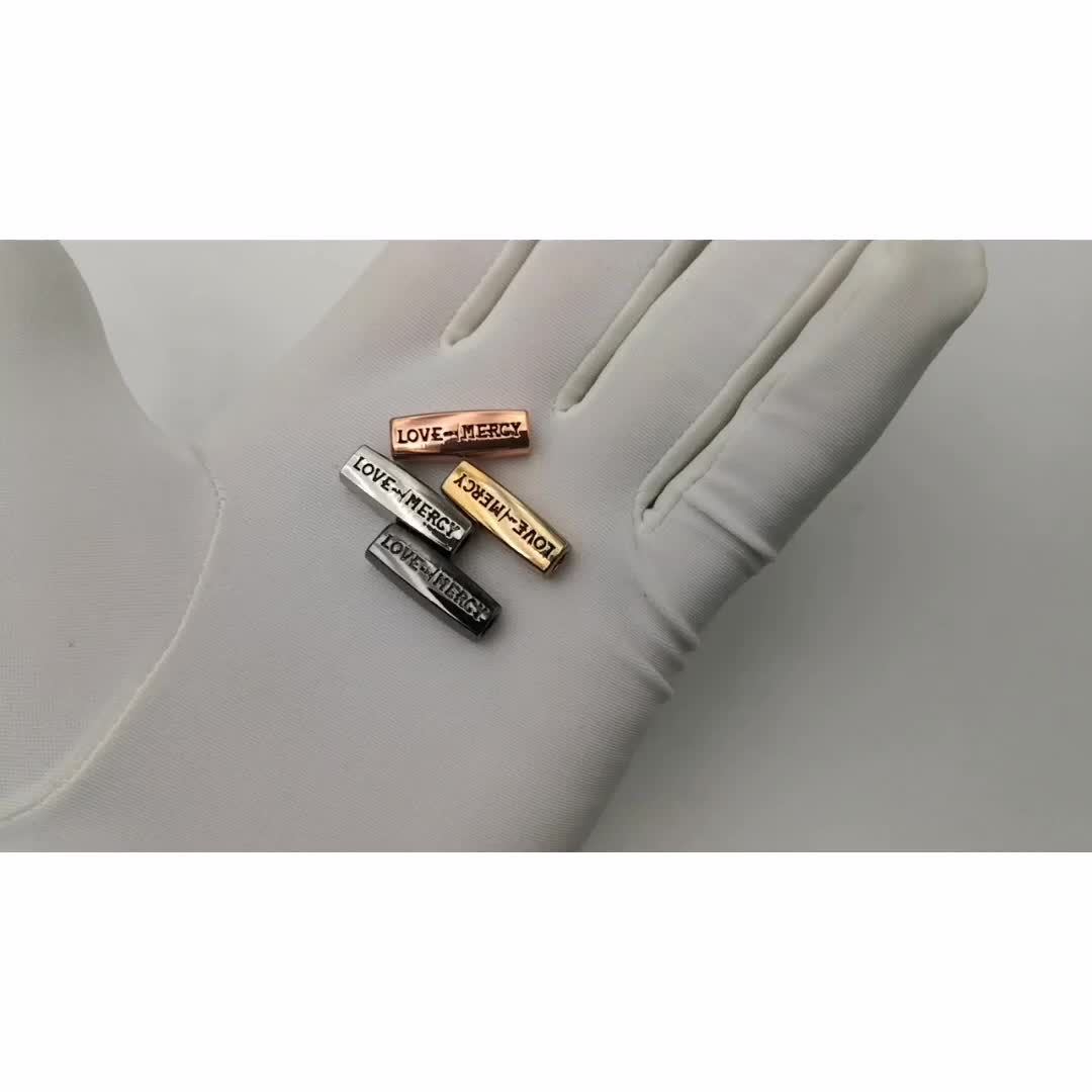 Custom long engraved logo charms metal beads for jewelry