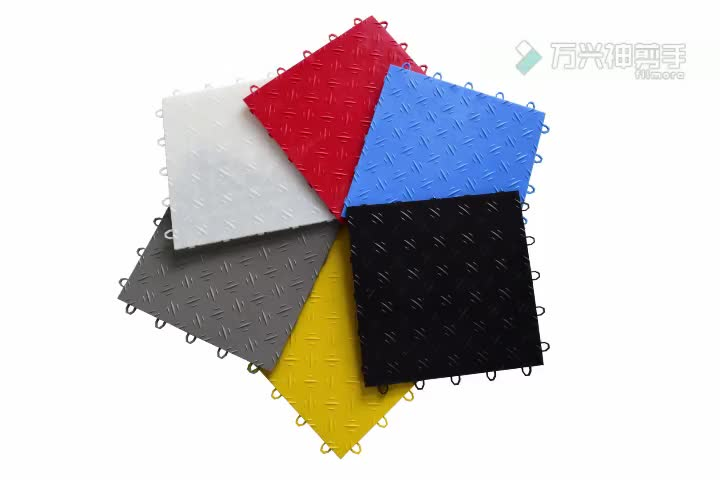 Factory Sales New Material Rubber-Cal Coin Grip Metallic Garage Interlocking PVC Flooring