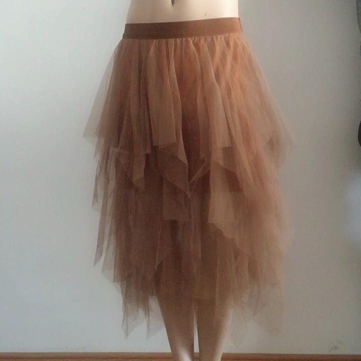 irregular Mesh skirt women spring new multi-layer tutu cake skirt fluffy ruffled long tulle skirt female