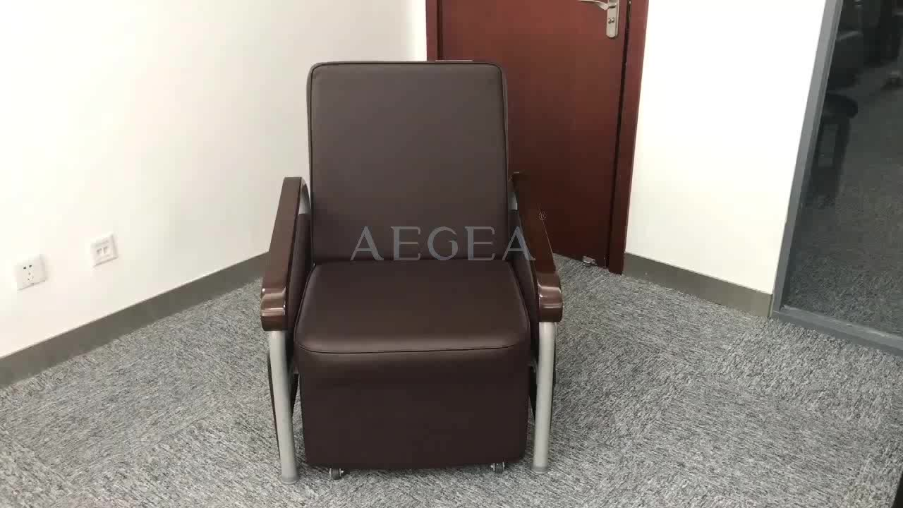 Medical patient room used accompany adjustable metal folding bed chair