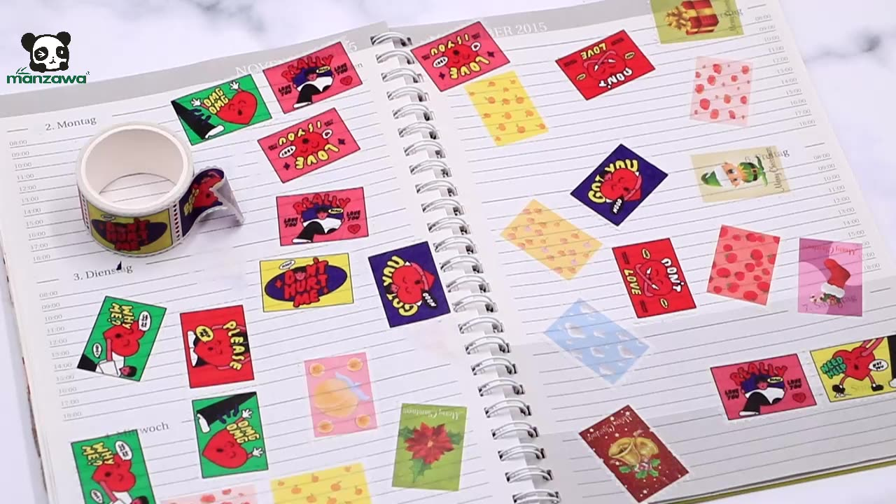Manzawa 5m x 25mm Stamps Perforated Washi Tape For Decorated