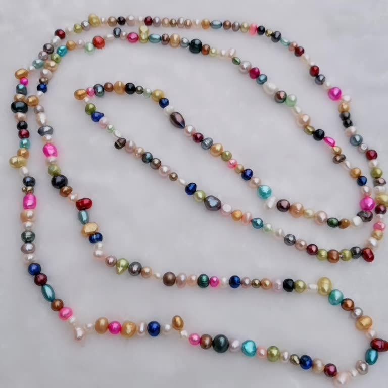 FPN06 Multicolor Freshwater Pearl Necklace Colorful Cultured Genuine Pearls Women Jewelry Gift 60 Inch Long