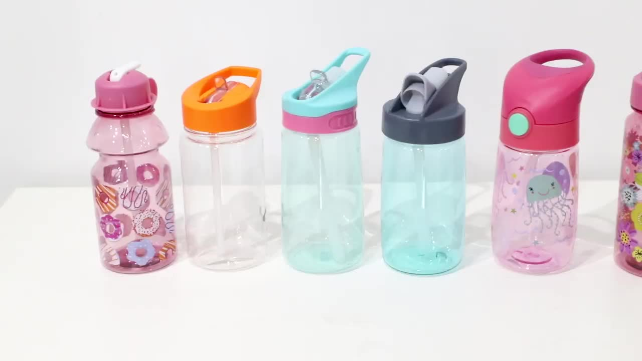 Promotional food grade portable bpa free children kids custom sports drinking plastic kid tritan water bottle with straw