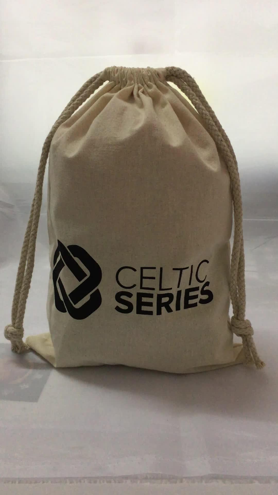 Özelleştirilmiş tasarım ile 100% doğal kılıfı çanta pamuk, pamuk dize çanta, pamuk çantası çanta