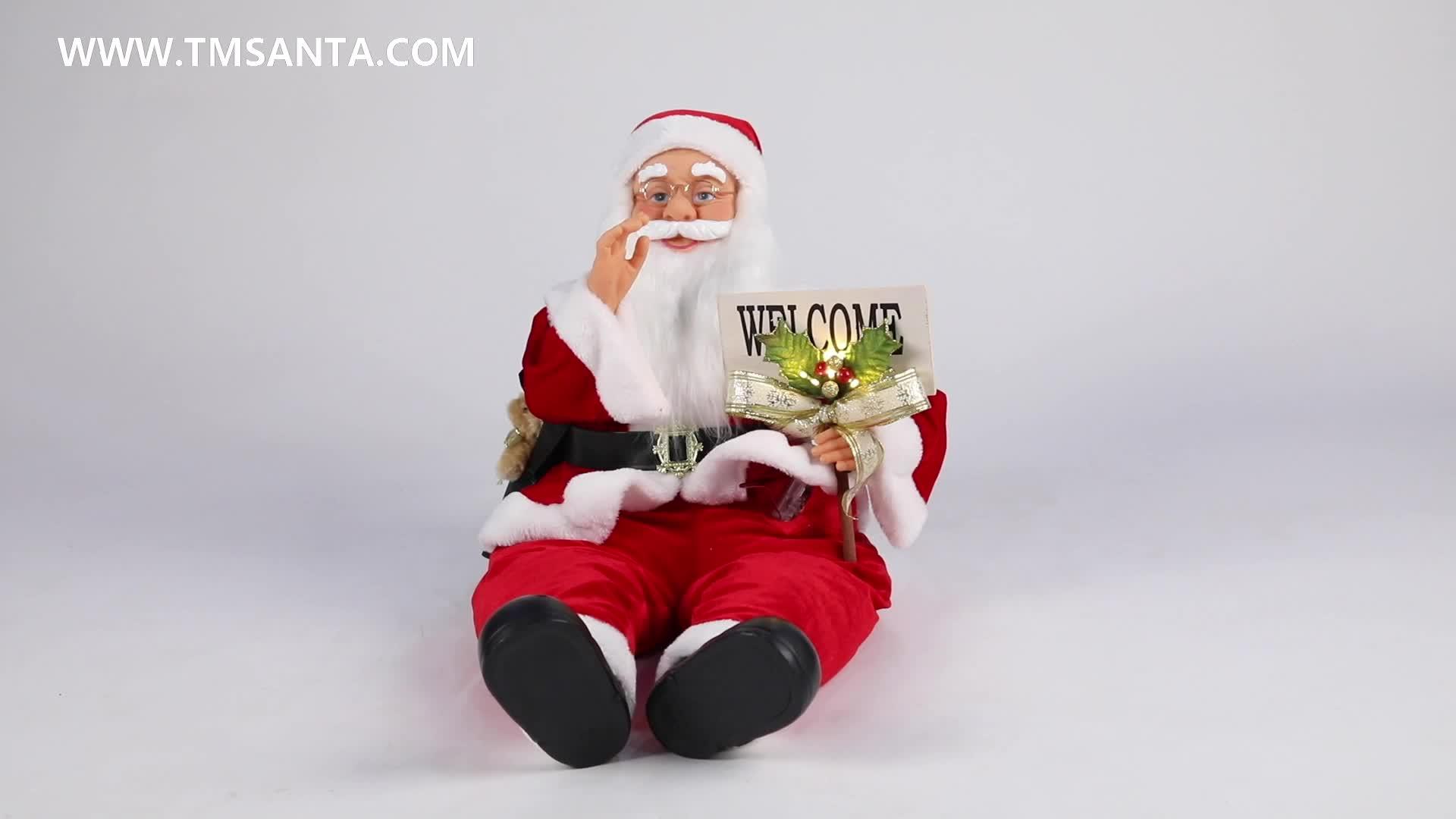 80cm 크리스마스 앉아 애니메이션 산타 클로스 조명 뮤지컬 장식 입상 컬렉션 전통 휴일