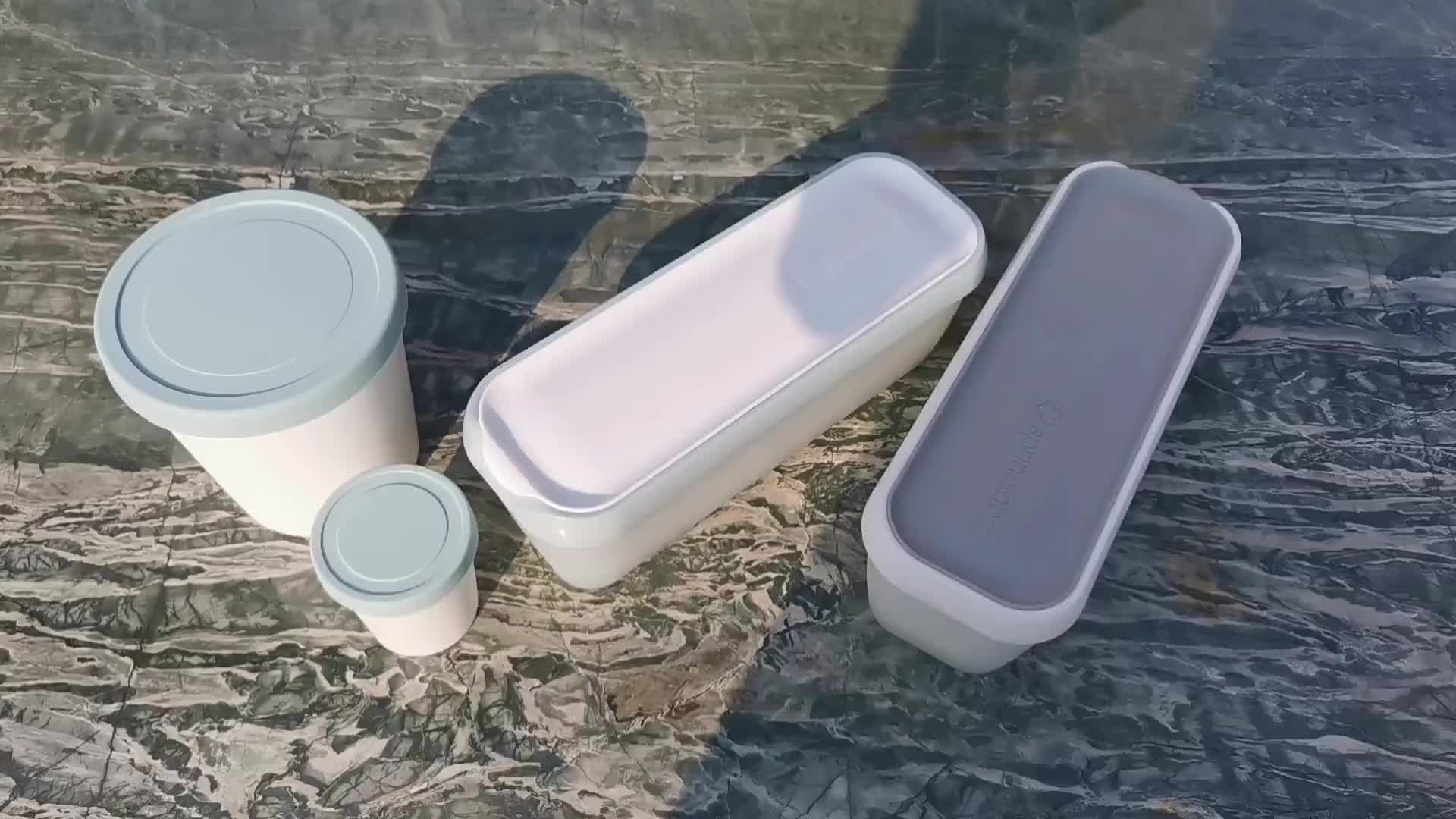 Eco-Friendly reusable plastic ice cream container with silicone lid