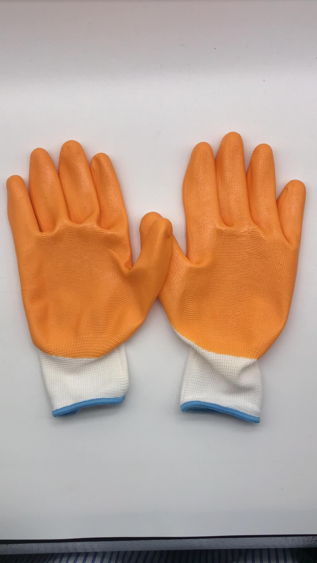 Хорошее Качество Нитриловые защитные рабочие перчатки с пальмовым и пальмовым покрытием