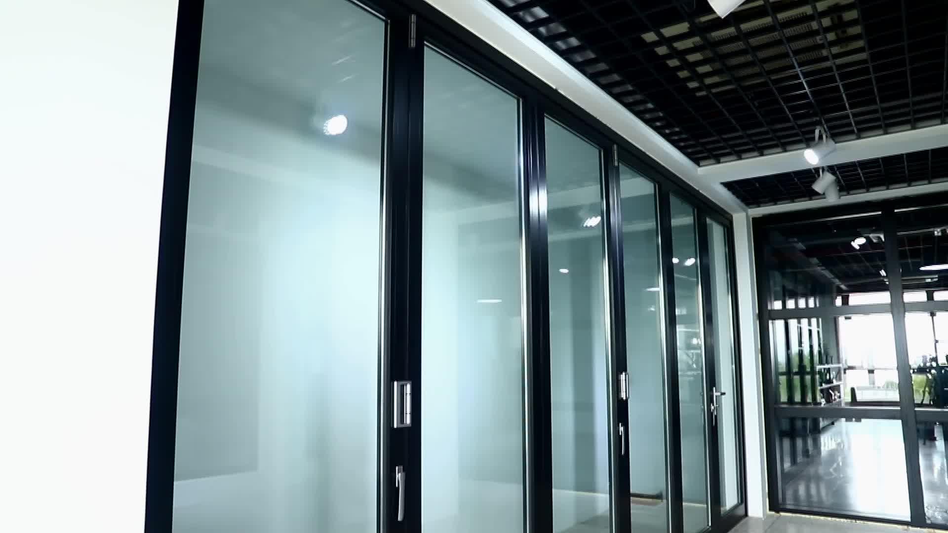 알루미늄 열 bi 접이식 문 스태킹 문 안뜰 문