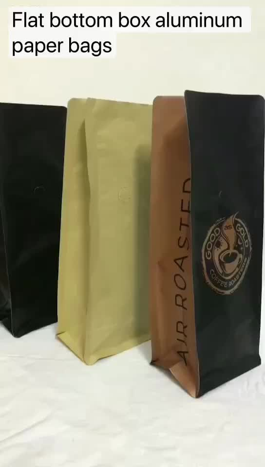 biodegradable custom printing valve paper coffee tea pouch packing beans bag flat bottom