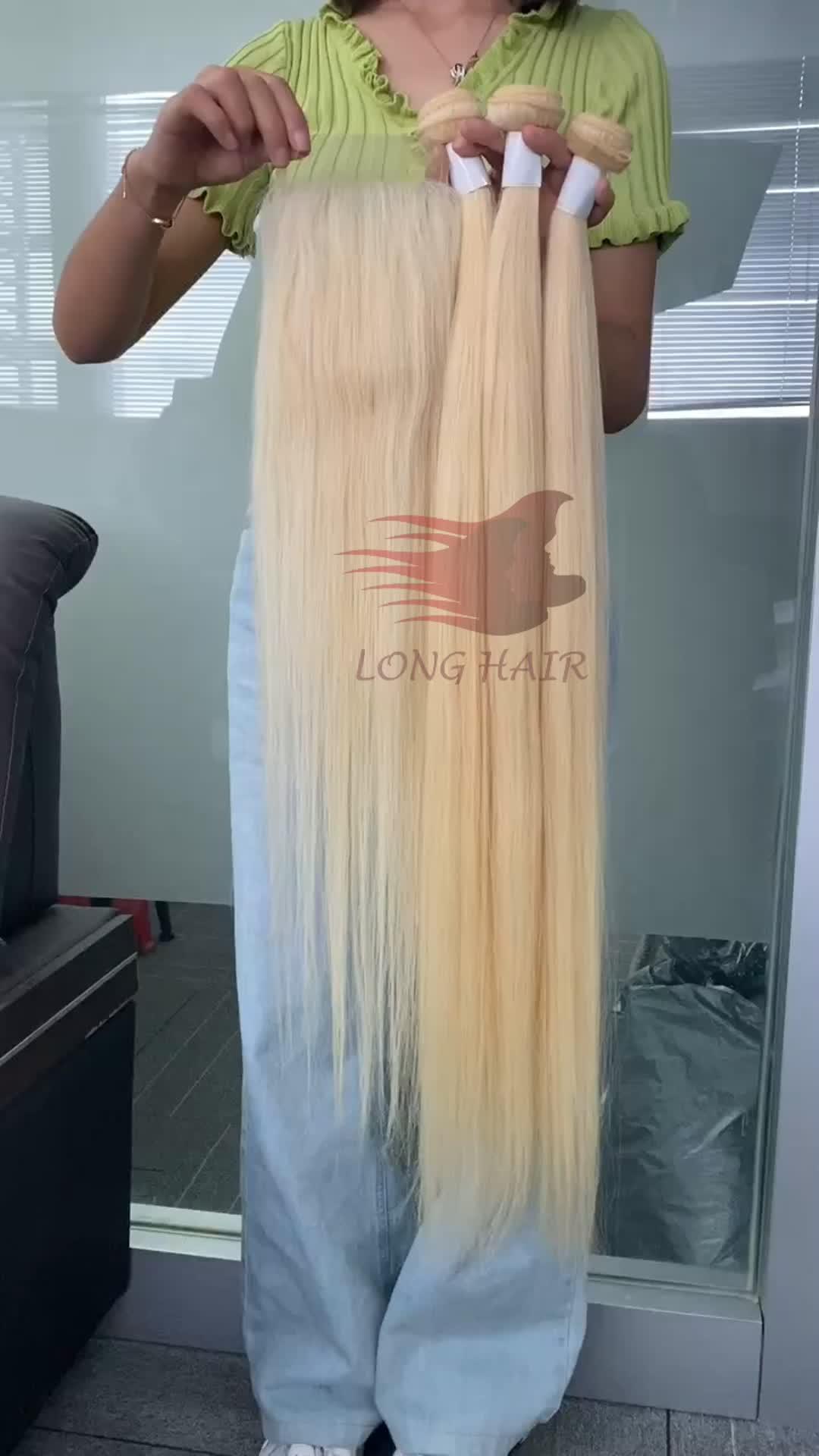 Recto sin procesar al por mayor ruso rubia paquetes crudo cabello rubio cabello virgen 613 rubia Virgen de la armadura del pelo humano