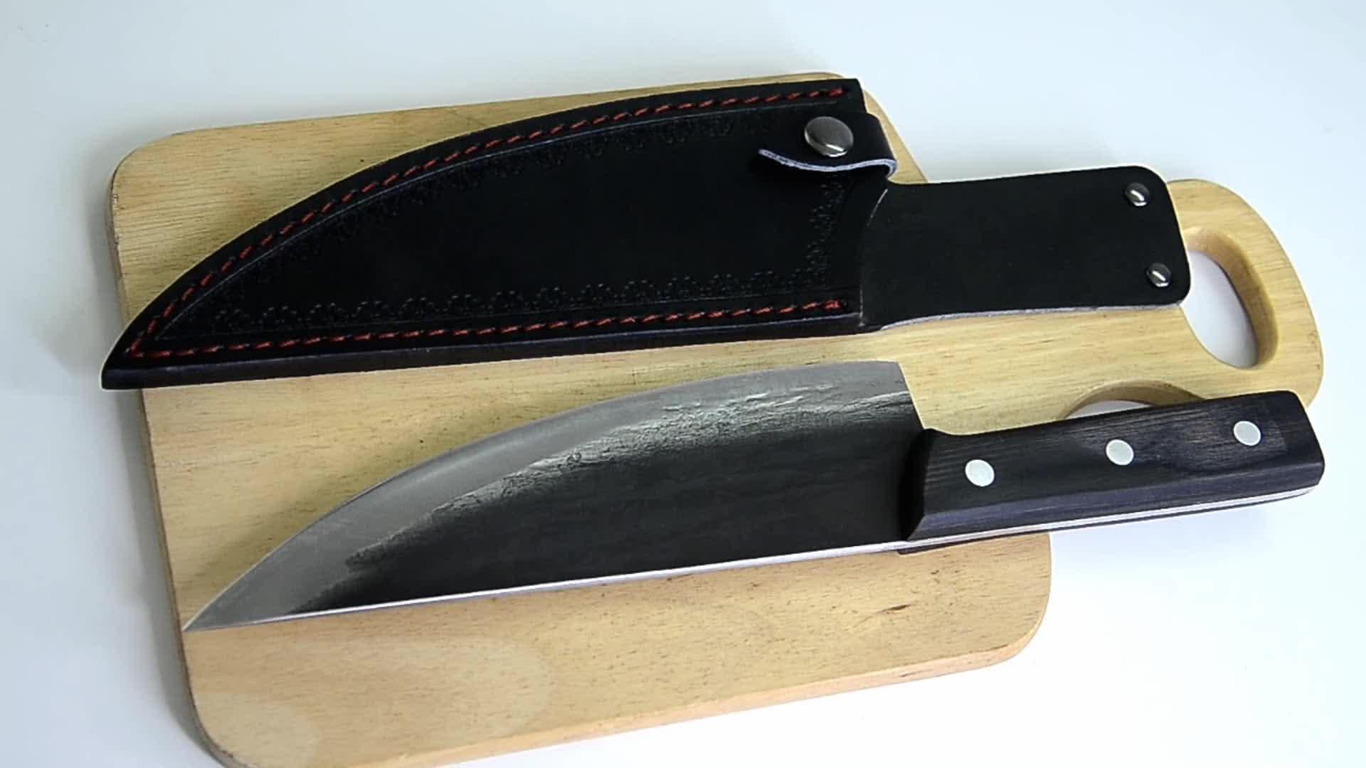 De alta calidad de acero inoxidable afilado forjado a mano de hoja fija maestro chef cuchillo de 8 'hecho a mano cuchillo de chef con vaina