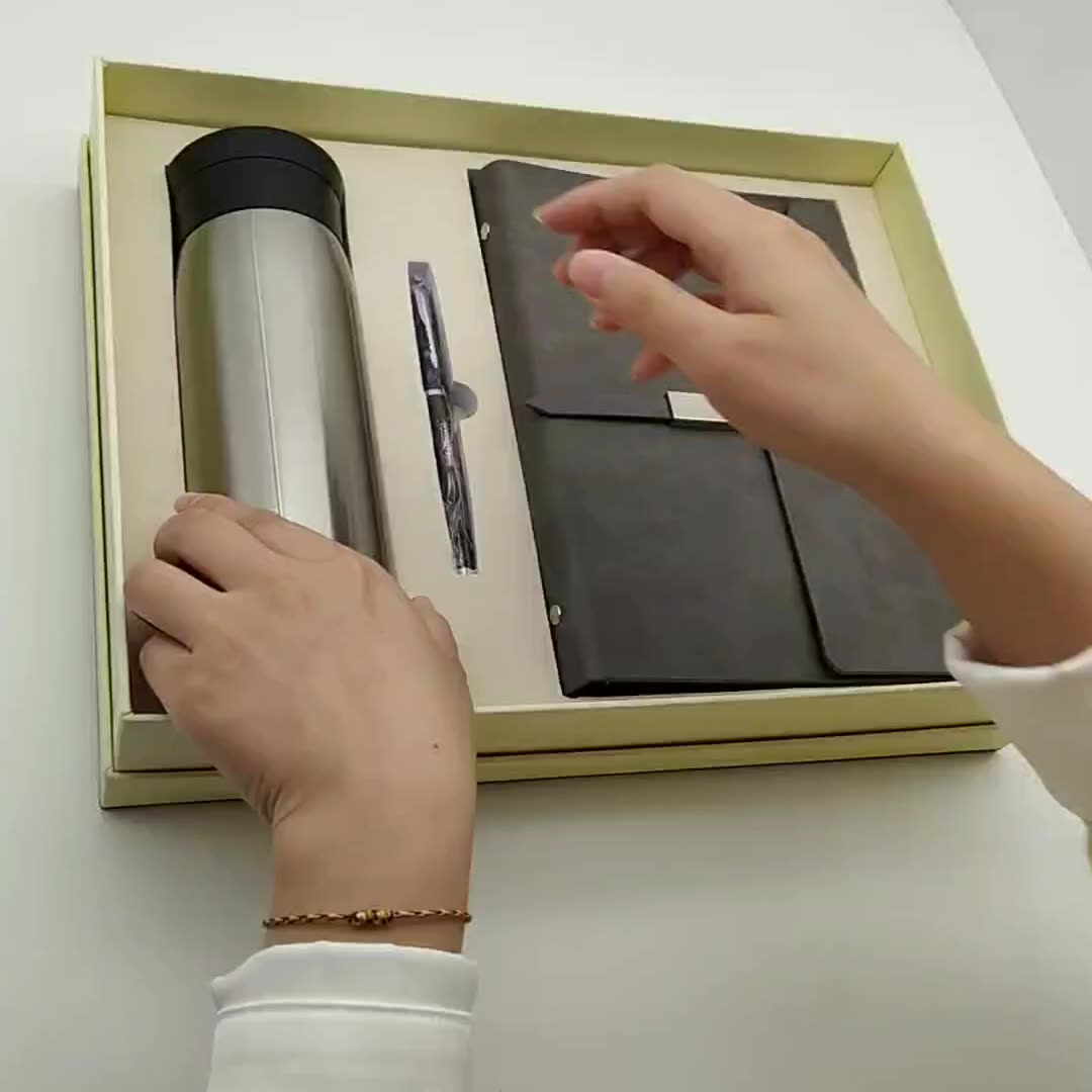 Notebook and vacuum cup corporate gift set for business use